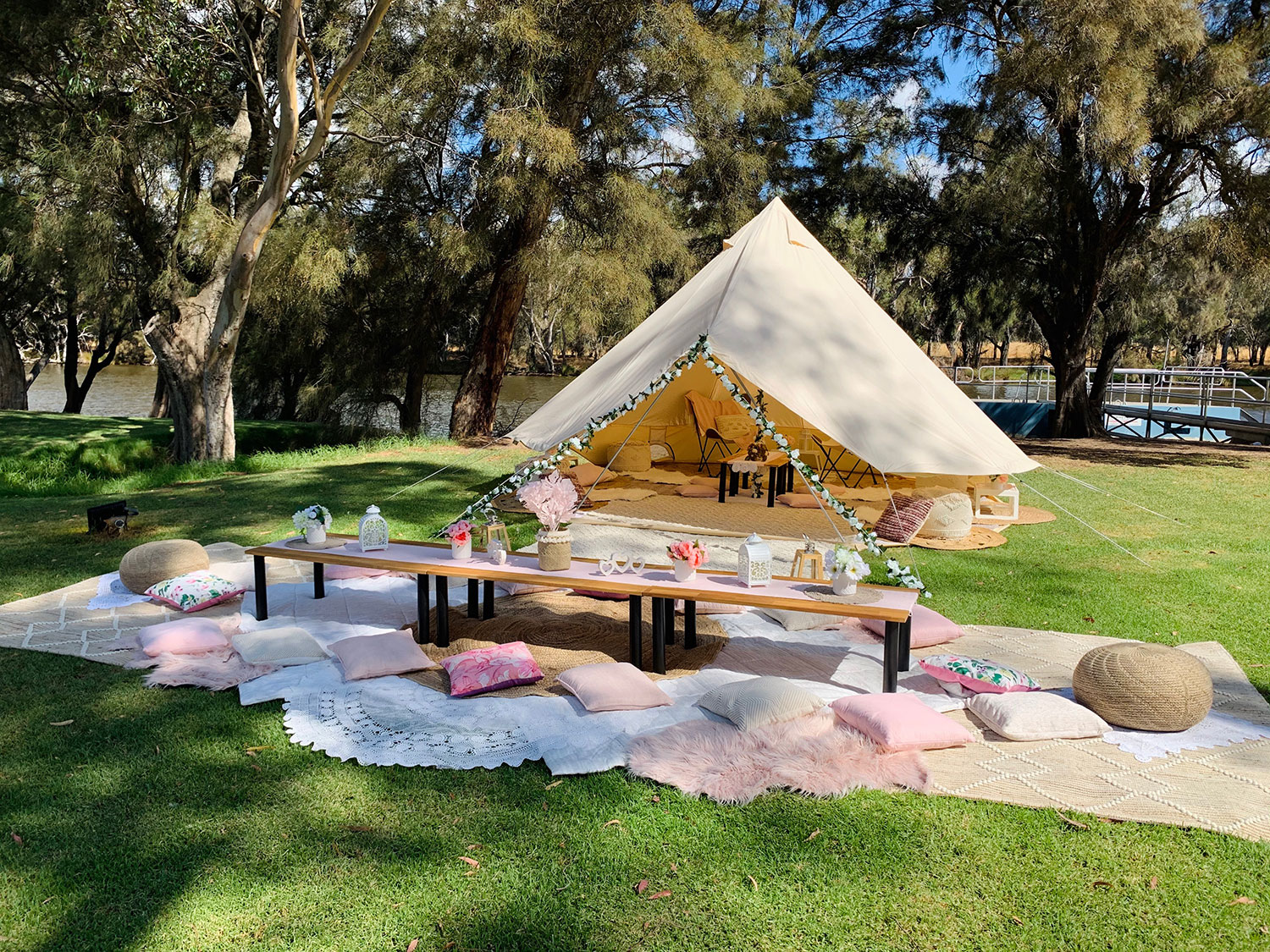 Perth party tent, setup by the swan river with our luxury picnic option